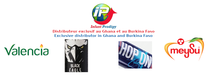 IP Group exclusive distributor of Valencia, Hop On, Black Eagle and Meysu juices in Burkina Faso and Ghana.